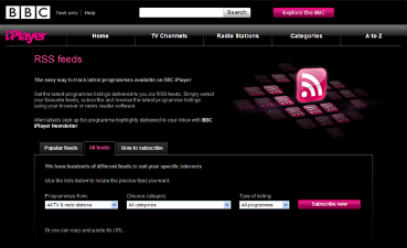 BBC iPlayer RSS Feeds