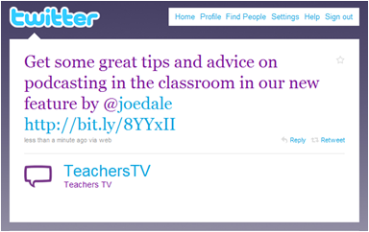 Teachers TV tweet