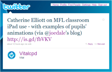 Vital CPD tweet on Catherine Elliott post