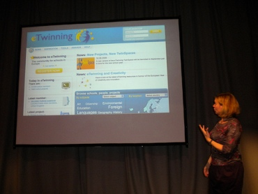 Lisa Steven's talking about eTwinning